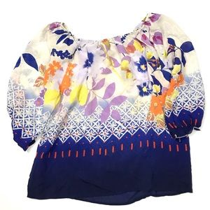Fei Silk Peasant Smock Top Floral Watercolor Print
